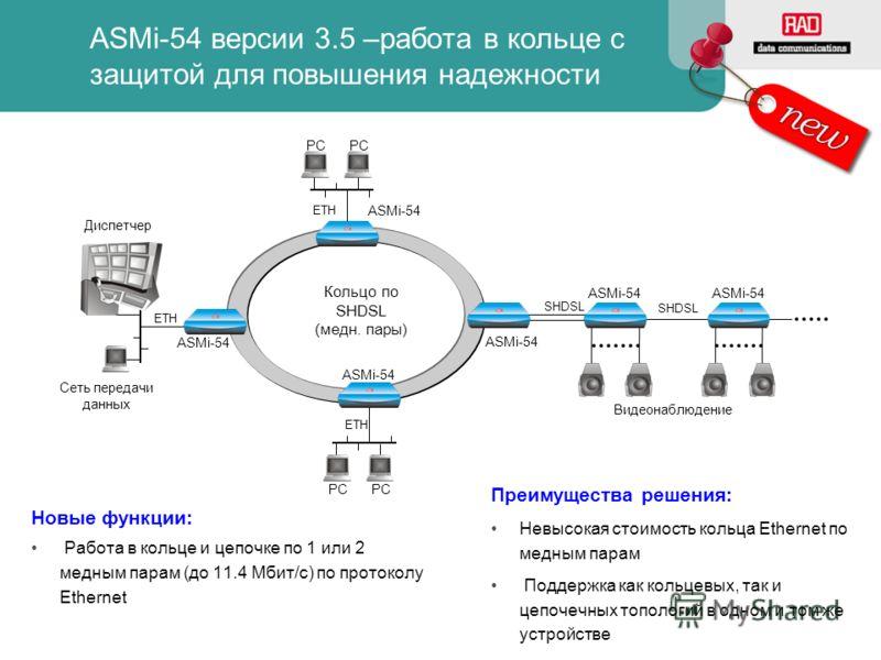 PC Новые функции: Работа в кольце и цепочке по 1 или 2 медным парам (до 11.4 Мбит/с) по протоколу Ethernet ASMi-54 ETH ASMi-54 PC Сеть передачи данных ETH ASMi-54 PC ETH ASMi-54 Кольцо по SHDSL (медн. пары) ASMi-54 SHDSL Видеонаблюдение ASMi-54 SHDSL