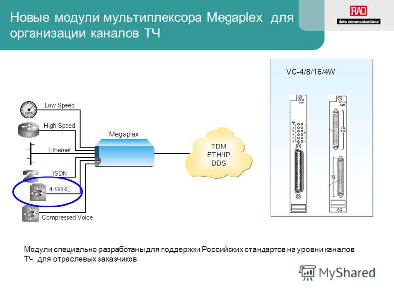 Новые модули мультиплексора Megaplex для организации каналов TЧ TDM ETH/IP DDS Low Speed High Speed Ethernet ISDN 4-WIRE Compressed Voice Megaplex VC-4/8/16/4W Модули специально разработаны для поддержки Российских стандартов на уровни каналов ТЧ для