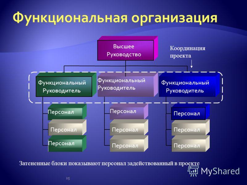 25 Персонал Функциональный Руководитель Персонал Функциональный Руководитель Персонал Функциональный Руководитель Высшее Руководство Координация проекта Затененные блоки показывают персонал задействованный в проекте