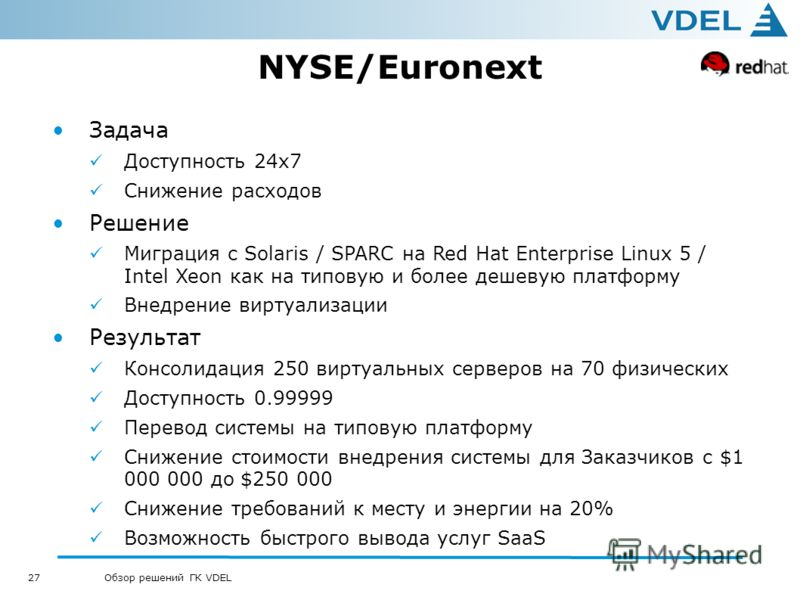 27 Обзор решений ГК VDEL NYSE/Euronext Задача Доступность 24х7 Снижение расходов Решение Миграция с Solaris / SPARC на Red Hat Enterprise Linux 5 / Intel Xeon как на типовую и более дешевую платформу Внедрение виртуализации Результат Консолидация 250