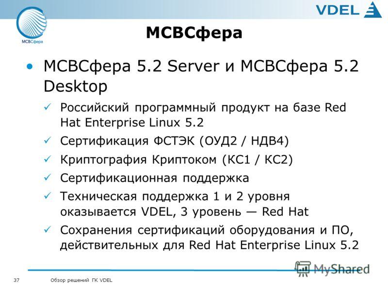 37 Обзор решений ГК VDEL МСВСфера МСВСфера 5.2 Server и МСВСфера 5.2 Desktop Российский программный продукт на базе Red Hat Enterprise Linux 5.2 Сертификация ФСТЭК (ОУД2 / НДВ4) Криптография Криптоком (КС1 / КС2) Сертификационная поддержка Техническа