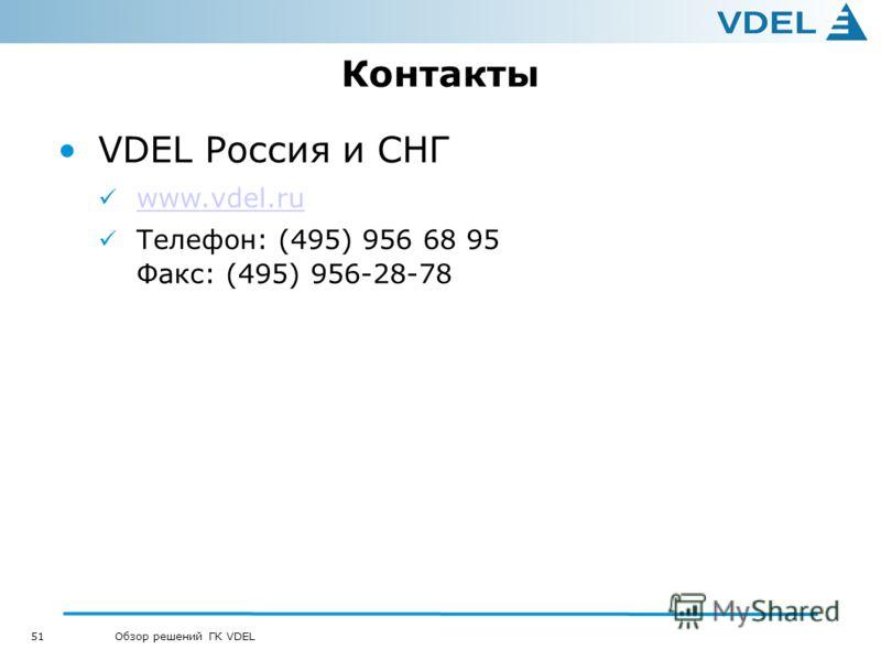 51 Обзор решений ГК VDEL Контакты VDEL Россия и СНГ www.vdel.ru Телефон: (495) 956 68 95 Факс: (495) 956-28-78