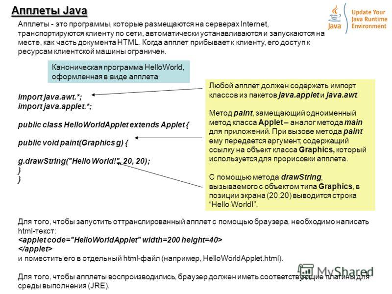 1 Апплеты Java Апплеты - это программы, которые размещаются на серверах Internet, транспортируются клиенту по сети, автоматически устанавливаются и запускаются на месте, как часть документа HTML. Когда апплет прибывает к клиенту, его доступ к ресурса