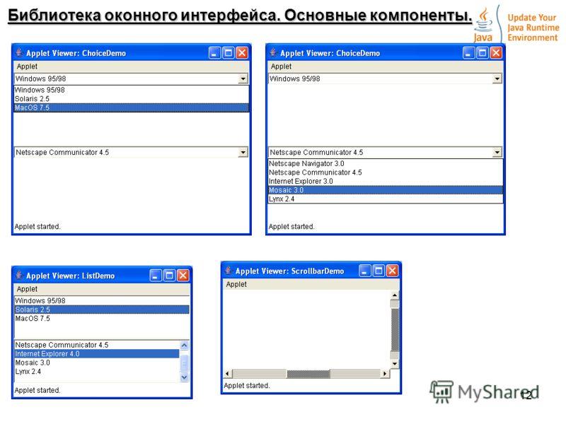 12 Библиотека оконного интерфейса. Основные компоненты.