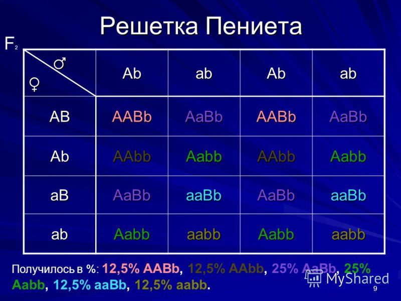 9 Решетка Пениета AbabAbab ABAABbAaBbAABbAaBb AbAAbbAabbAAbbAabb aBAaBbaaBbAaBbaaBb abAabbaabbAabbaabb F2F2 Получилось в %: 12,5% AABb, 12,5% AAbb, 25% AaBb, 25% Aabb, 12,5% aaBb, 12,5% aabb.