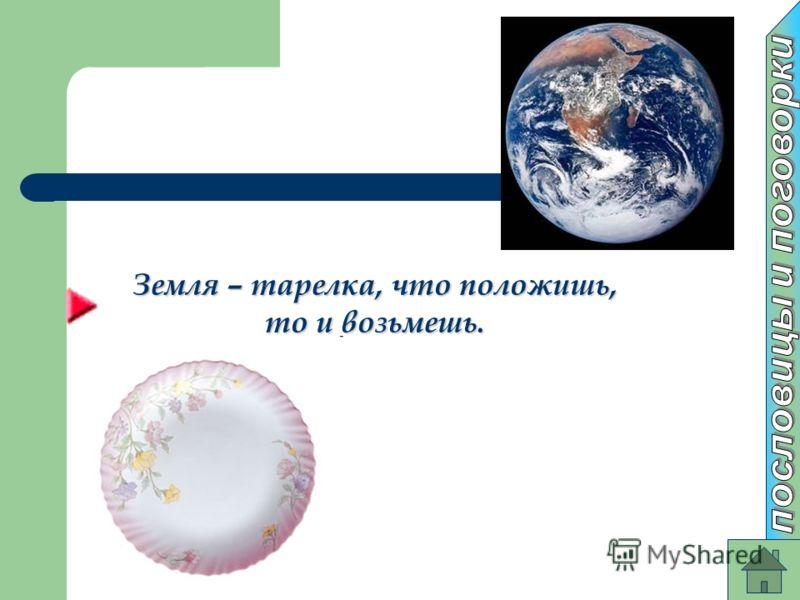 Земля – тарелка, что положишь, то и возьмешь.