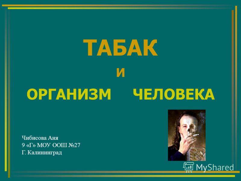 ТАБАК И ОРГАНИЗМ ЧЕЛОВЕКА Чибисова Аня 9 «Г» МОУ ООШ 27 Г. Калининград