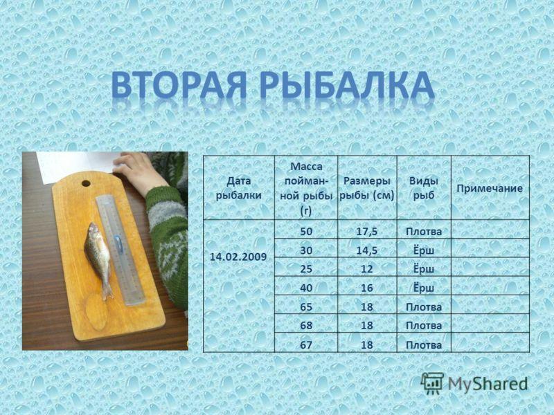 Дата рыбалки Масса пойман- ной рыбы (г) Размеры рыбы (см) Виды рыб Примечание 14.02.2009 5017,5Плотва 3014,5Ёрш 2512Ёрш 4016Ёрш 6518Плотва 6818Плотва 6718Плотва
