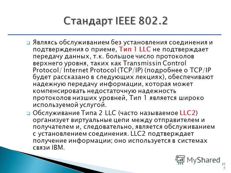 Являясь обслуживанием без установления соединения и подтверждения о приеме, Тип 1 LLC не подтверждает передачу данных, т.к. большое число протоколов верхнего уровня, таких как Transmissin Control Protocol/ Internet Protocol (ТCP/IP) (подробнее о TCP/