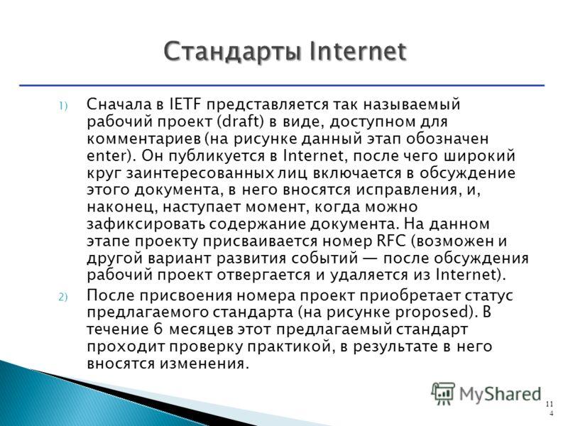 1) Сначала в IETF представляется так называемый рабочий проект (draft) в виде, доступном для комментариев (на рисунке данный этап обозначен enter). Он публикуется в Internet, после чего широкий круг заинтересованных лиц включается в обсуждение этого