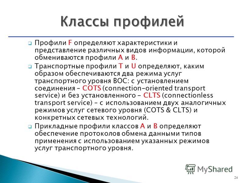 Профили F определяют характеристики и представление различных видов информации, которой обмениваются профили А и В. Транспортные профили T и U определяют, каким образом обеспечиваются два режима услуг транспортного уровня ВОС: с установлением соедине