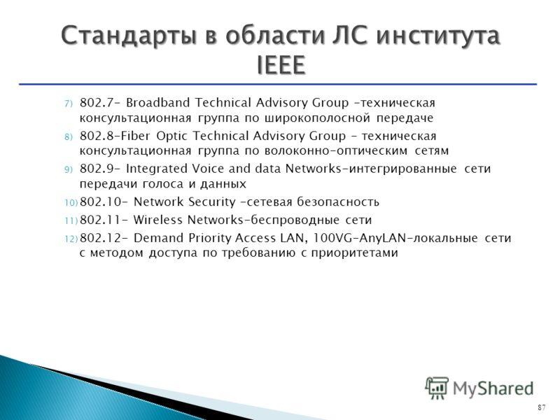 7) 802.7- Broadband Technical Advisory Group -техническая консультационная группа по широкополосной передаче 8) 802.8-Fiber Optic Technical Advisory Group - техническая консультационная группа по волоконно-оптическим сетям 9) 802.9- Integrated Voice