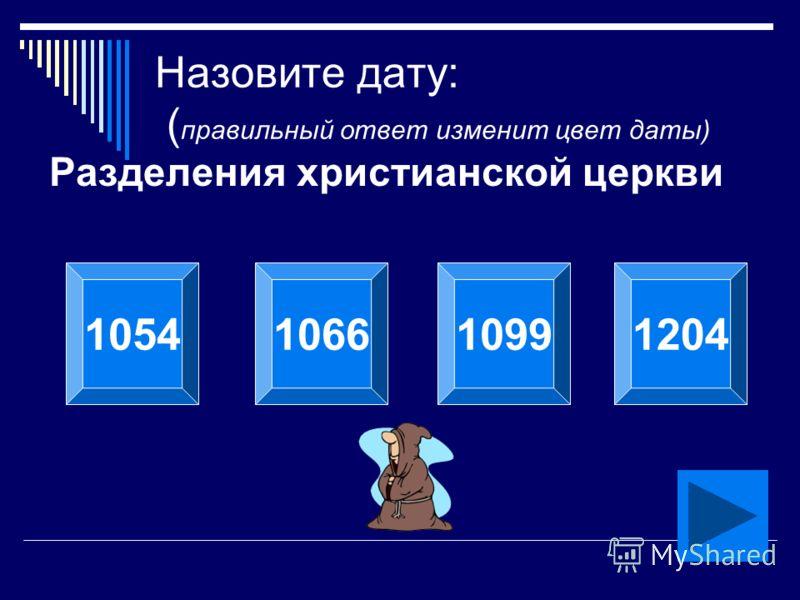Назовите дату: ( правильный ответ изменит цвет даты) Разделения христианской церкви 1054106610991204