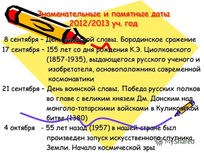 Знаменательные и памятные даты 2012/2013 уч. год 8 сентября – День воинской славы. Бородинское сражение 8 сентября – День воинской славы. Бородинское сражение 17 сентября – 155 лет со дня рождения К.Э. Циолковского (1857-1935), выдающегося русского у