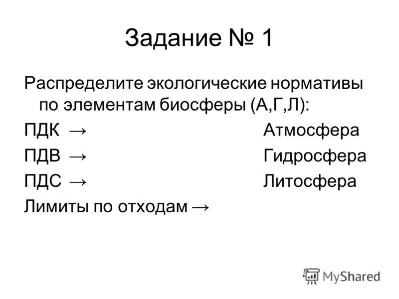 Задание 1 Распределите экологические нормативы по элементам биосферы (А,Г,Л): ПДК Атмосфера ПДВ Гидросфера ПДC Литосфера Лимиты по отходам