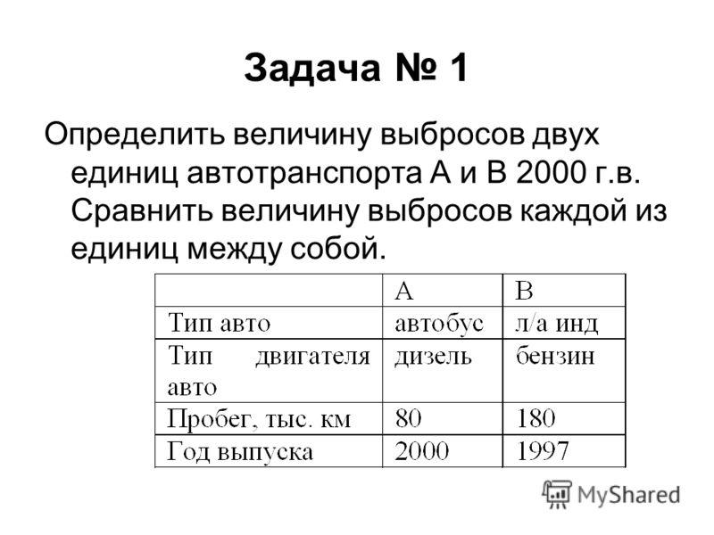 Задача 1 Определить величину выбросов двух единиц автотранспорта А и В 2000 г.в. Сравнить величину выбросов каждой из единиц между собой.