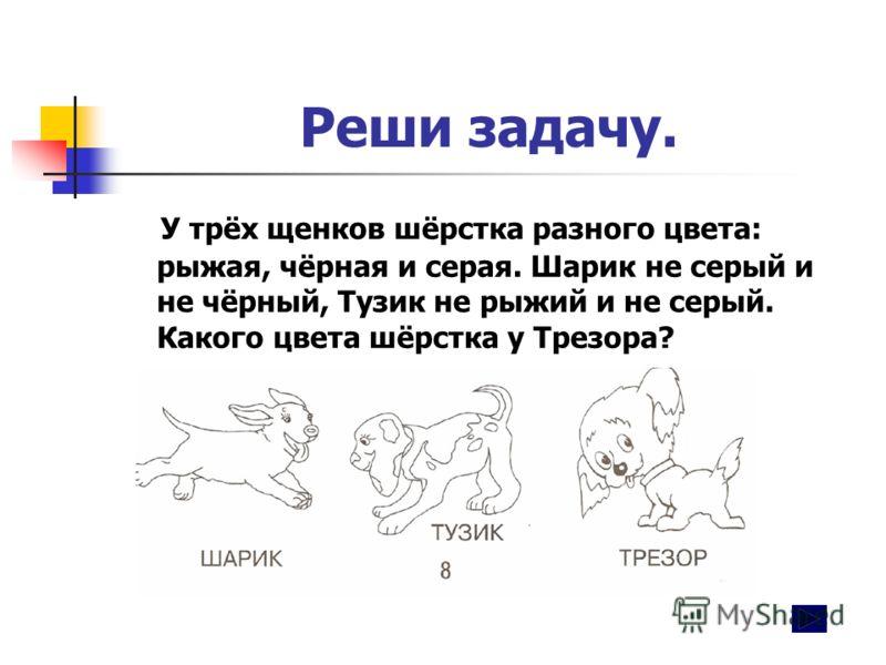 Реши задачу. У трёх щенков шёрстка разного цвета: рыжая, чёрная и серая. Шарик не серый и не чёрный, Тузик не рыжий и не серый. Какого цвета шёрстка у Трезора?