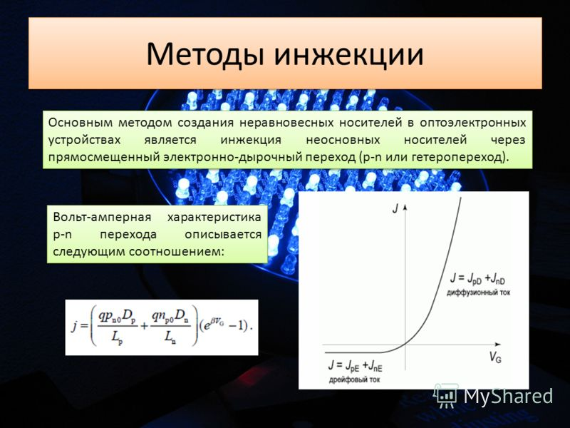 Методы инжекции Основным методом создания неравновесных носителей в оптоэлектронных устройствах является инжекция неосновных носителей через прямосмещенный электронно-дырочный переход (p-n или гетеропереход). Вольт-амперная характеристика p-n переход