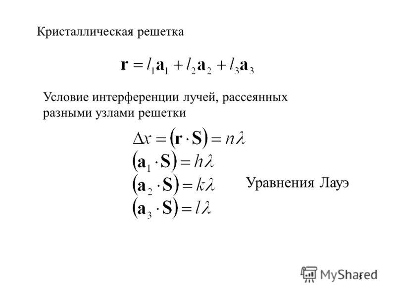 5 Кристаллическая решетка Условие интерференции лучей, рассеянных разными узлами решетки Уравнения Лауэ