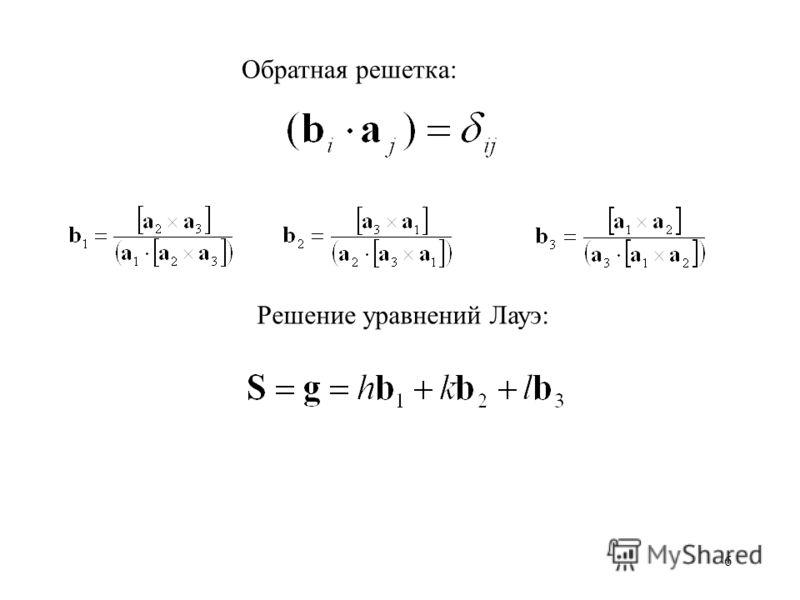 6 Обратная решетка: Решение уравнений Лауэ: