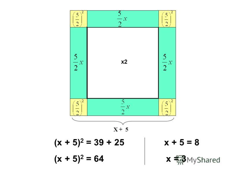 х2 Х + 5 (х + 5) 2 = 39 + 25 х + 5 = 8 (х + 5) 2 = 64 х = 3