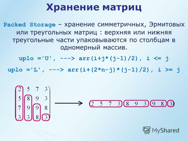 Packed Storage – хранение симметричных, Эрмитовых или треугольных матриц : верхняя или нижняя треугольные части упаковываются по столбцам в одномерный массив. uplo ='U', ---> arr(i+j*(j-1)/2), i  arr(i+(2*n-j)*(j-1)/2), i >= j Хранение матриц