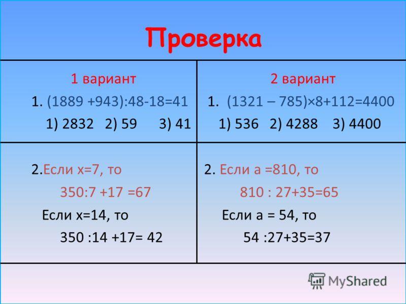 Проверка 1 вариант 1. (1889 +943):48-18=41 1) 2832 2) 59 3) 41 2.Если х=7, то 350:7 +17 =67 Если х=14, то 350 :14 +17= 42 2 вариант 1. (1321 – 785)×8+112=4400 1) 536 2) 4288 3) 4400 2. Если а =810, то 810 : 27+35=65 Если а = 54, то 54 :27+35=37