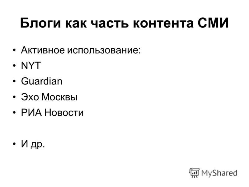 Блоги как часть контента СМИ Активное использование: NYT Guardian Эхо Москвы РИА Новости И др.