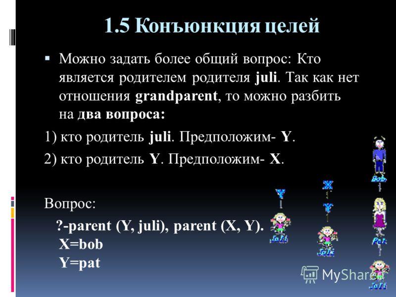 1.5 Конъюнкция целей Можно задать более общий вопрос: Кто является родителем родителя juli. Так как нет отношения grandparent, то можно разбить на два вопроса: 1) кто родитель juli. Предположим- Y. 2) кто родитель Y. Предположим- X. Вопрос: ?-parent