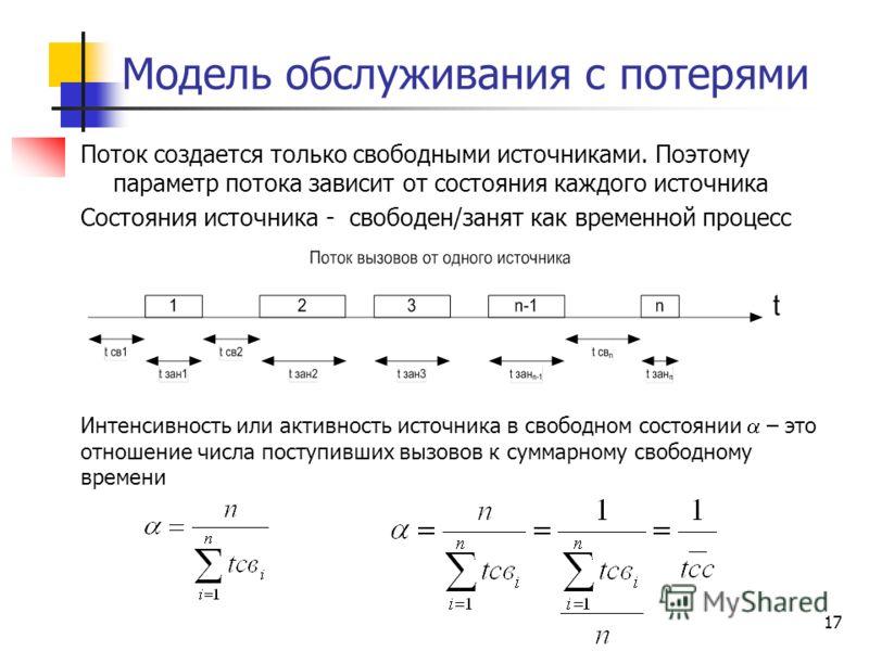 17 Модель обслуживания с потерями Интенсивность или активность источника в свободном состоянии – это отношение числа поступивших вызовов к суммарному свободному времени Поток создается только свободными источниками. Поэтому параметр потока зависит от