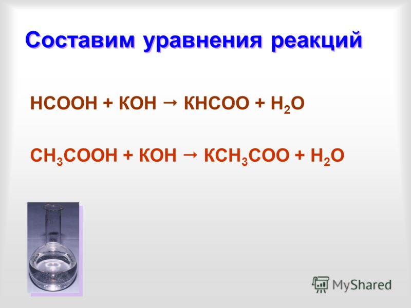Составим уравнения реакций НСООН + КОН КНСОО + Н 2 О СН 3 СООН + КОН КСН 3 СОО + Н 2 О
