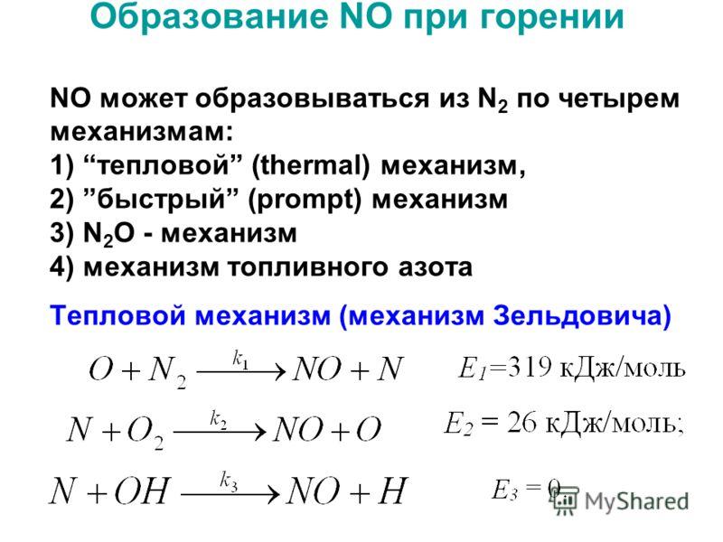 Образование NO при горении NO может образовываться из N 2 по четырем механизмам: 1) тепловой (thermal) механизм, 2) быстрый (prompt) механизм 3) N 2 O - механизм 4) механизм топливного азота Тепловой механизм (механизм Зельдовича)