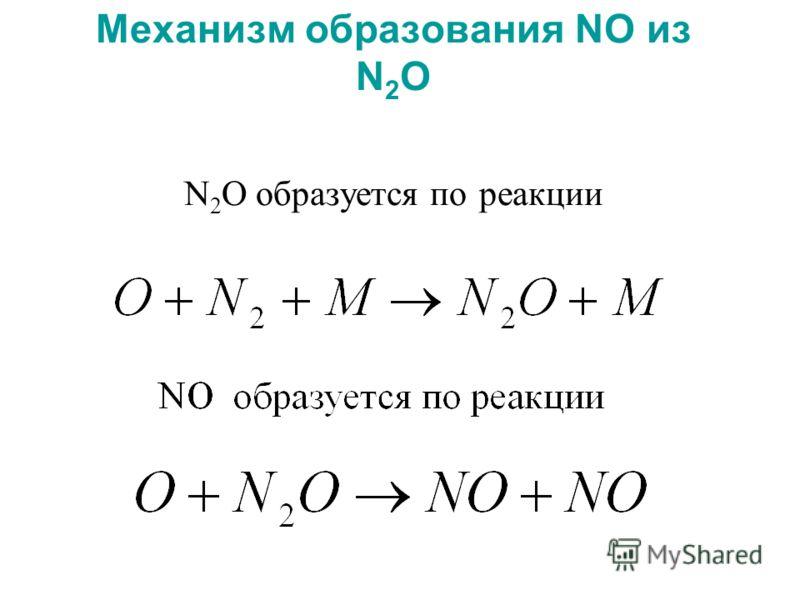 Механизм образования NO из N 2 O N 2 O образуется по реакции