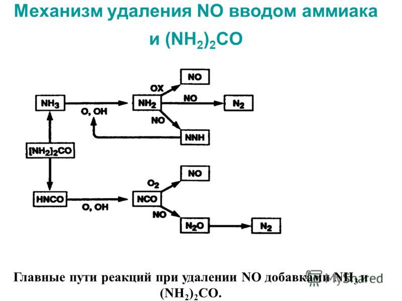 Механизм удаления NO вводом аммиака и (NH 2 ) 2 CO Главные пути реакций при удалении NO добавками NH 3 и (NH 2 ) 2 CO.