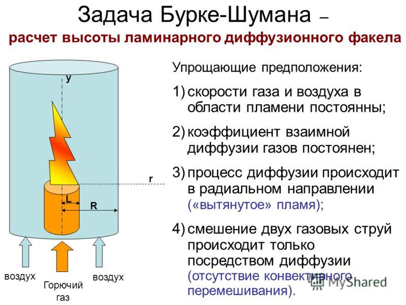 Задача Бурке-Шумана – расчет высоты ламинарного диффузионного факела r R L y Горючий газ воздух Упрощающие предположения: 1)скорости газа и воздуха в области пламени постоянны; 2)коэффициент взаимной диффузии газов постоянен; 3)процесс диффузии проис