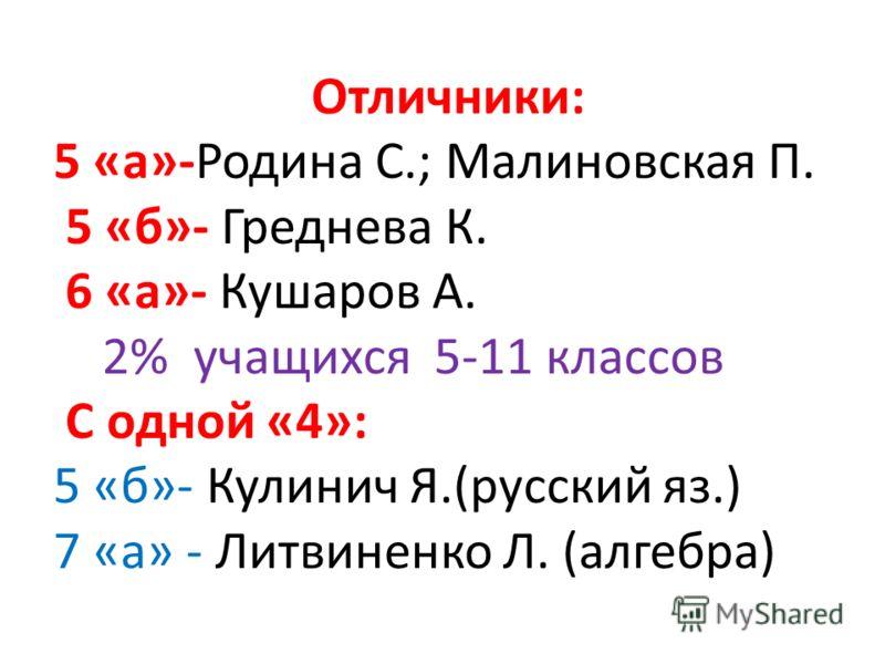 Отличники: 5 «а»-Родина С.; Малиновская П. 5 «б»- Греднева К. 6 «а»- Кушаров А. 2% учащихся 5-11 классов С одной «4»: 5 «б»- Кулинич Я.(русский яз.) 7 «а» - Литвиненко Л. (алгебра)