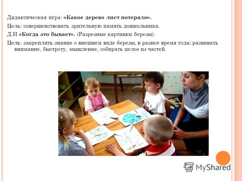 Дидактическая игра: «Какое дерево лист потеряло». Цель: совершенствовать зрительную память дошкольника. Д.И «Когда это бывает». (Разрезные картинки березы). Цель: закреплять знание о внешнем виде березы, в разное время года; развивать внимание, быстр