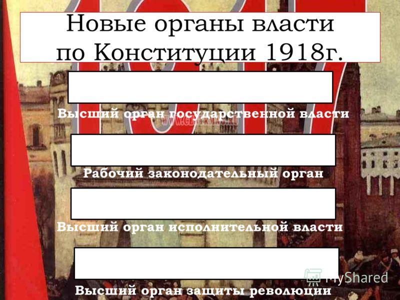 Новые органы власти по Конституции 1918г. Высший орган государственной власти Рабочий законодательный орган Высший орган исполнительной власти Высший орган защиты революции