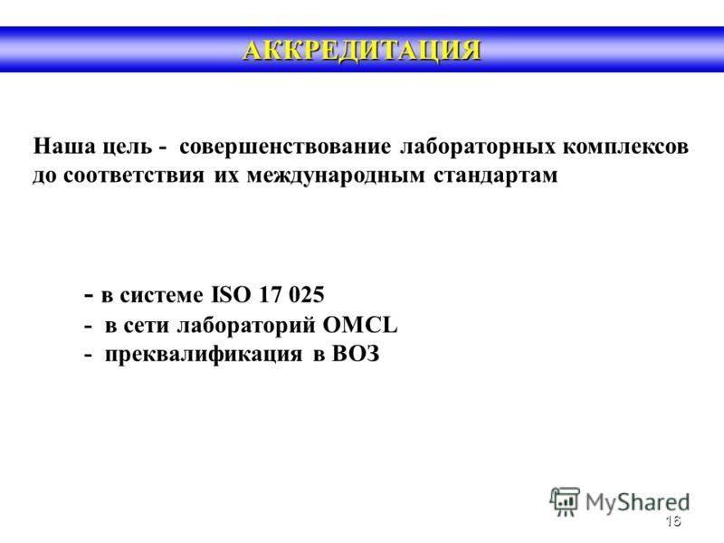16 АККРЕДИТАЦИЯ - в системе ISO 17 025 - в сети лабораторий OMCL - преквалификация в ВОЗ Наша цель - совершенствование лабораторных комплексов до соответствия их международным стандартам