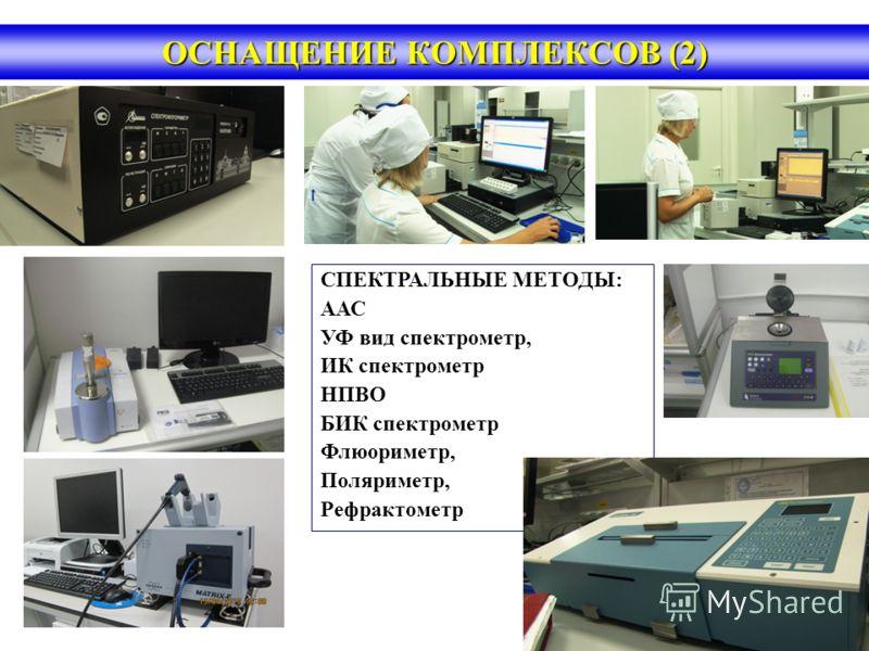ОСНАЩЕНИЕ КОМПЛЕКСОВ (2) СПЕКТРАЛЬНЫЕ МЕТОДЫ: ААС УФ вид спектрометр, ИК спектрометр НПВО БИК спектрометр Флюориметр, Поляриметр, Рефрактометр