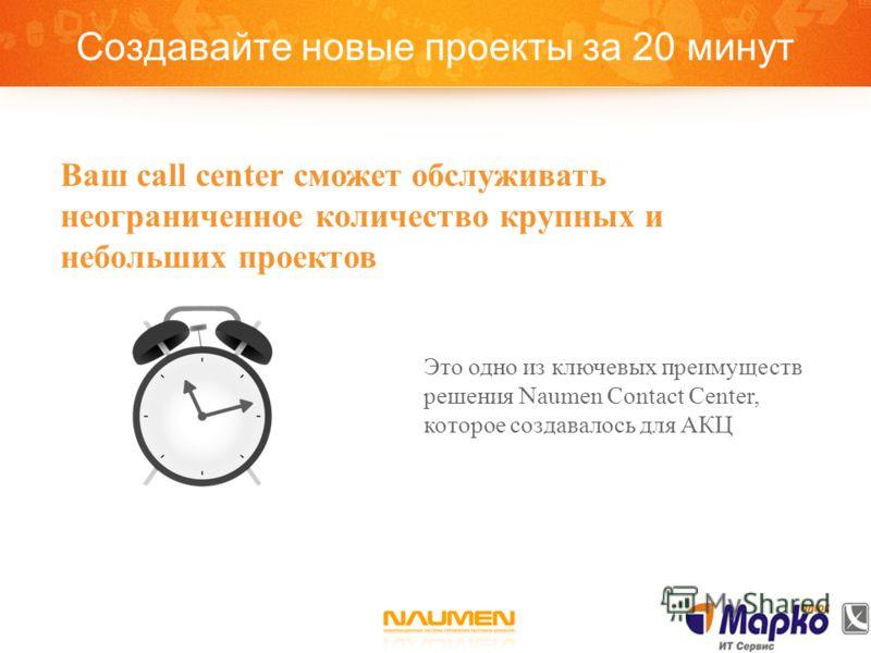 Создавайте новые проекты за 20 минут Это одно из ключевых преимуществ решения Naumen Contact Center, которое создавалось для АКЦ Ваш call center сможет обслуживать неограниченное количество крупных и небольших проектов