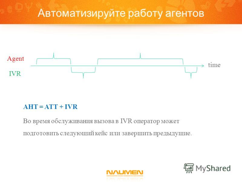 Agent IVR time AHT = ATT + IVR Во время обслуживания вызова в IVR оператор может подготовить следующий кейс или завершить предыдущие.