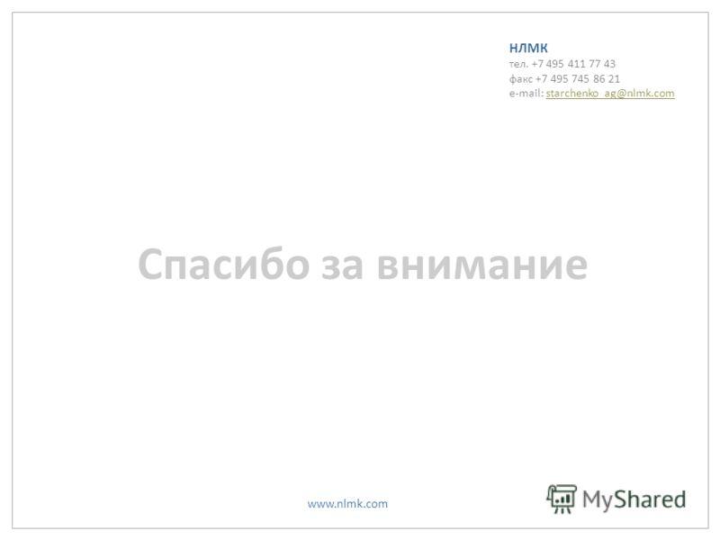 www.nlmk.com НЛМК тел. +7 495 411 77 43 факс +7 495 745 86 21 e-mail: starchenko_ag@nlmk.comstarchenko_ag@nlmk.com Спасибо за внимание