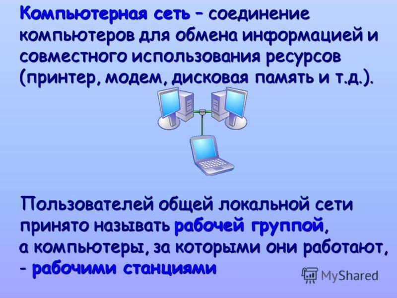 Компьютерная сеть – соединение компьютеров для обмена информацией и совместного использования ресурсов (принтер, модем, дисковая память и т.д.). Компьютерная сеть – соединение компьютеров для обмена информацией и совместного использования ресурсов (п