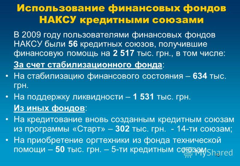 10 Использование финансовых фондов НАКСУ кредитными союзами В 2009 году пользователями финансовых фондов НАКСУ были 56 кредитных союзов, получившие финансовую помощь на 2 517 тыс. грн., в том числе: За счет стабилизационного фонда: На стабилизацию фи