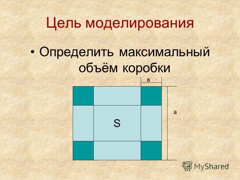 Цель моделирования Определить максимальный объём коробки S а в