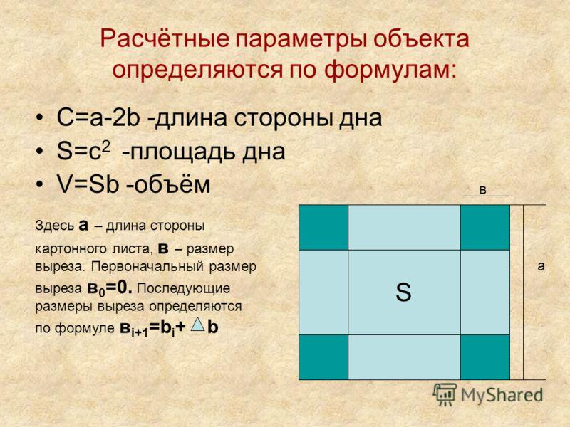 Расчётные параметры объекта определяются по формулам: C=a-2b -длина стороны дна S=c 2 -площадь дна V=Sb -объём S а в Здесь а – длина стороны картонного листа, в – размер выреза. Первоначальный размер выреза в 0 =0. Последующие размеры выреза определя