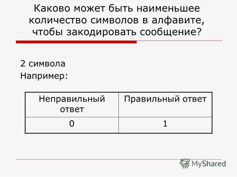 Каково может быть наименьшее количество символов в алфавите, чтобы закодировать сообщение? 2 символа Например: Неправильный ответ Правильный ответ 01