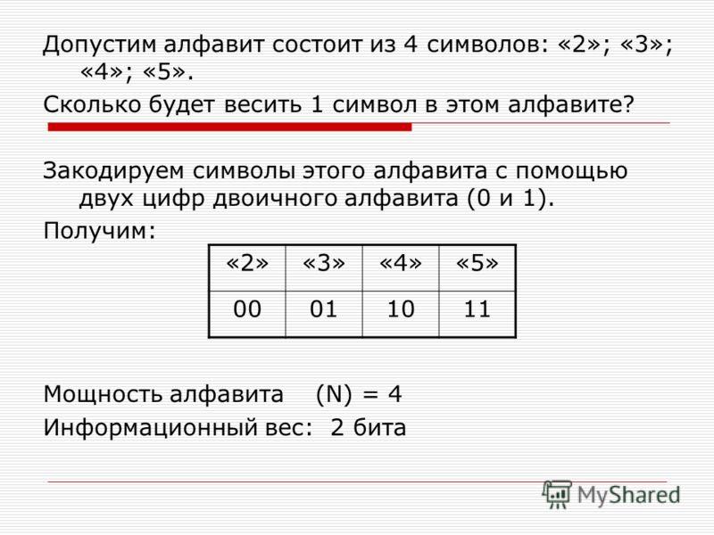 Допустим алфавит состоит из 4 символов: «2»; «3»; «4»; «5». Сколько будет весить 1 символ в этом алфавите? Закодируем символы этого алфавита с помощью двух цифр двоичного алфавита (0 и 1). Получим: Мощность алфавита (N) = 4 Информационный вес: 2 бита