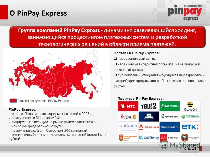 О PinPay Express Cостав ГК PinPay Express: процессинговый центр; небанковская кредитная организация «Сибирский расчетный центр», пул компаний, специализирующихся на разработке и дистрибуции программного обеспечения для платежных систем. PinPay Expres